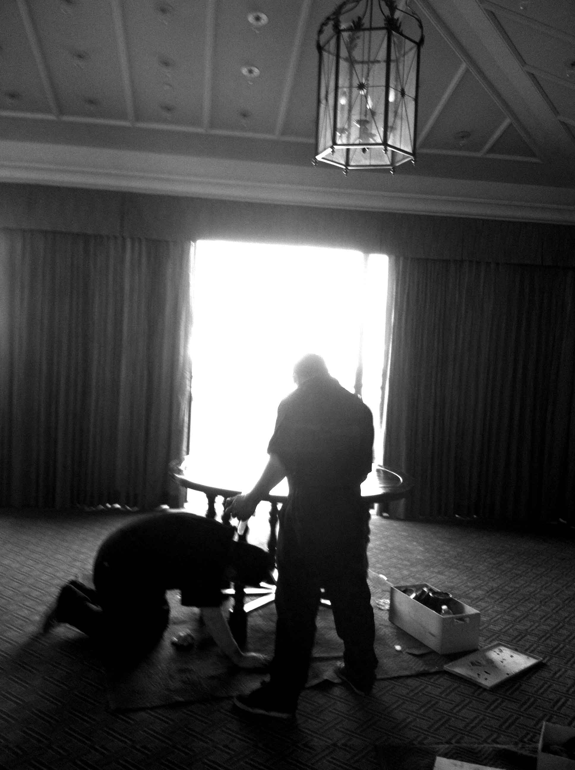 Plush Home finishers touching up furniture at Montage Beverly Hills.